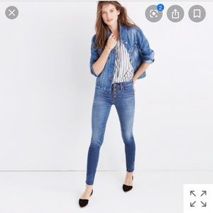 """Madewell high rise 9"""" blue jeans size 27"""